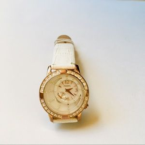 Fossil Leather Strap Rose Gold Rhinestone Watch